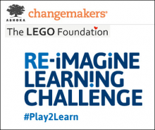 #Play2Learn logo of Ashoka changemakers and The LEGO Foundation